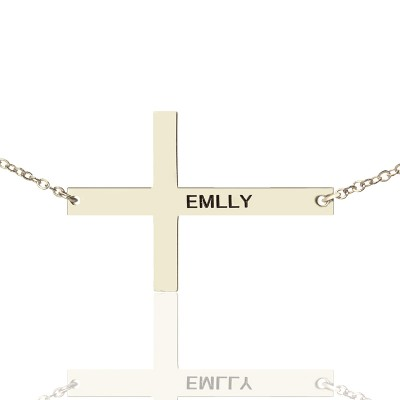 """Engraved Silver Latin Cross Name Necklace 1.6"""" - Handcrafted & Custom-Made"""