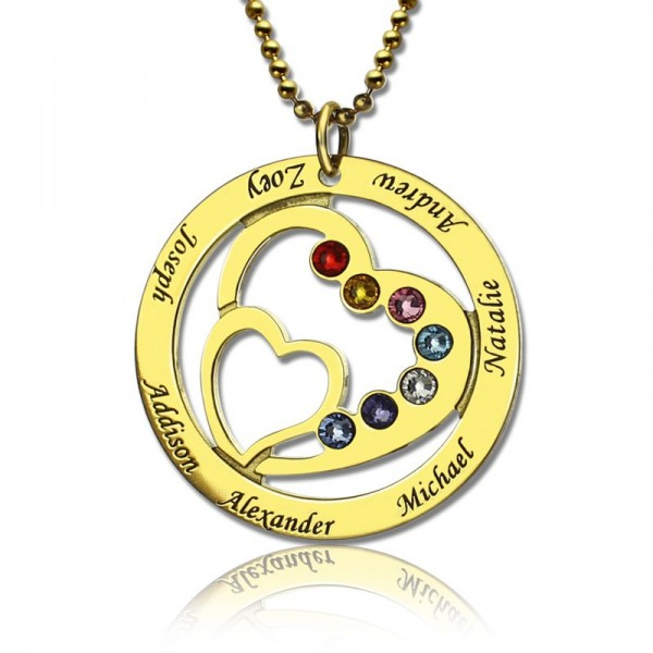 Heart in Heart Birthstone Name Necklace 18ct Gold Plated  - Handcrafted & Custom-Made