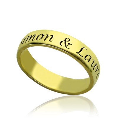 Engraved Promise Name Ring 18ct Gold Plated - Handcrafted & Custom-Made