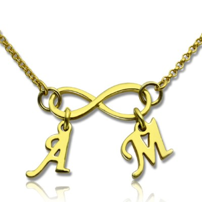 Infinity Pendant Double Initial 18ct Gold Plated - Handcrafted & Custom-Made