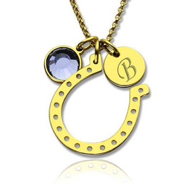 Birthstone Horseshoe Lucky Necklace with Initial Charm 18ct Gold Plate  - Handcrafted & Custom-Made