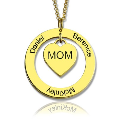 Family Names Necklace For Mom 18ct Gold Plating - Handcrafted & Custom-Made