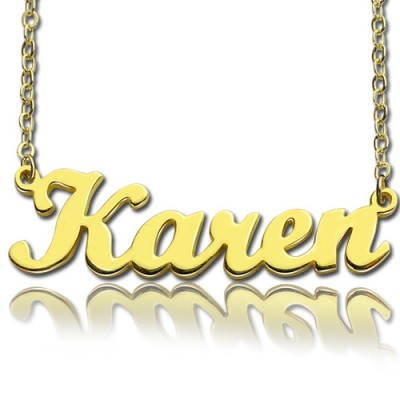 18ct Gold Plated Karen Style Name Necklace - Handcrafted & Custom-Made