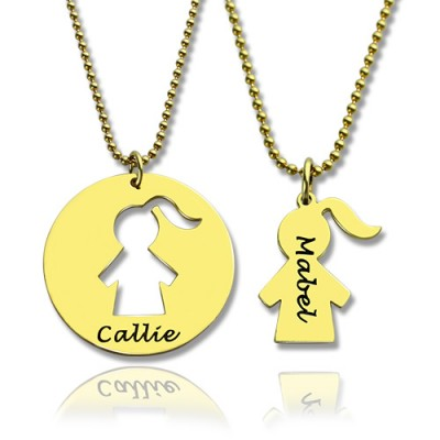 Mother and Child Necklace Set with Name 18ct Gold Plated - Handcrafted & Custom-Made