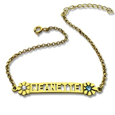 Personalised Birthstone Name Bracelet for Her 18ct Gold Plated  - Handcrafted & Custom-Made