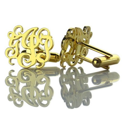 Monogrammed Cuff links Cut Out Initials 18ct Gold Plated - Handcrafted & Custom-Made