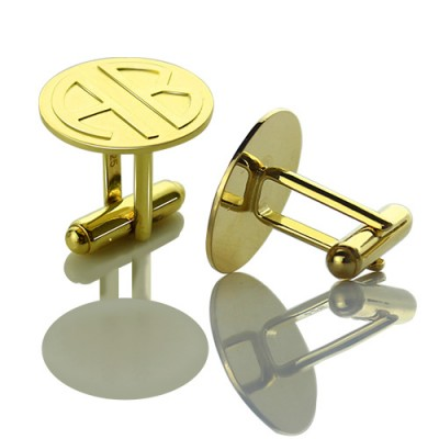 Cufflinks for Men with Block Monogram 18ct Gold Plated - Handcrafted & Custom-Made
