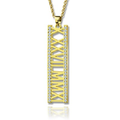 18ct Gold Plated Roman Numeral Necklace With Birthstone  - Handcrafted & Custom-Made