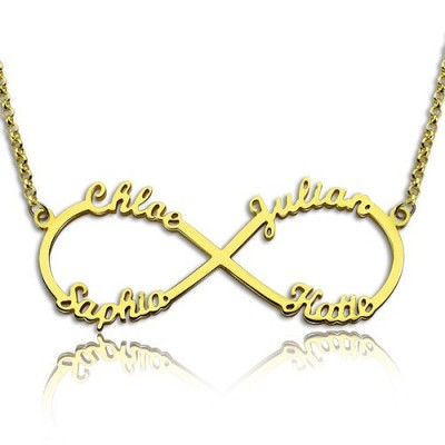 Custom 18ct Gold Plated Infinity Necklace 4 Names - Handcrafted & Custom-Made