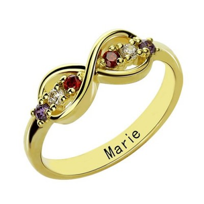 18ct Gold Plated Infinity Promise Rings with Birthstone  - Handcrafted & Custom-Made