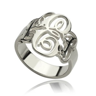 Personalised Fancy Monogram Ring Sterling Silver - Handcrafted & Custom-Made