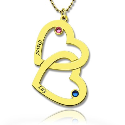 Custom Birthstone Heart in Heart Name Necklace 18ct Gold Plated  - Handcrafted & Custom-Made