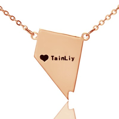 Custom Nevada State Shaped Necklaces With Heart  Name Rose Gold - Handcrafted & Custom-Made