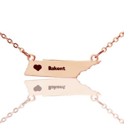 Custom Tennessee State Shaped Necklaces With Heart  Name Rose Gold - Handcrafted & Custom-Made