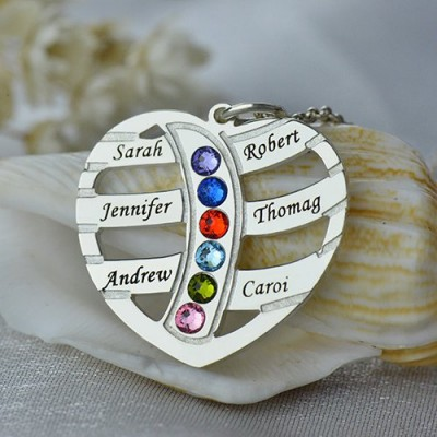Moms Necklace With Kids Name  Birthstone In Sterling Silver  - Handcrafted & Custom-Made