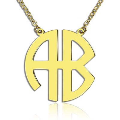 18ct Gold Plated 2 Letters Capital Monogram Necklace - Handcrafted & Custom-Made