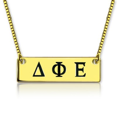 Personalised Greek Letter Sorority Bar Necklace 18ct Gold Plated - Handcrafted & Custom-Made