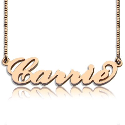 Carrie Name Necklace  Box Chain In 18ct Rose Gold Plated - Handcrafted & Custom-Made