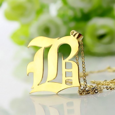 Custom Mens Initial Letter Charm Old English 18ct Gold Plated - Handcrafted & Custom-Made