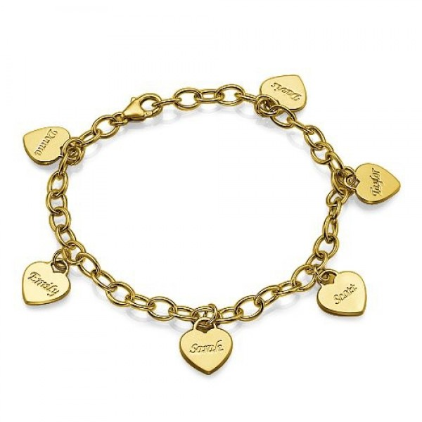 18k Gold Plated Heart Charm Mothers Bracelet/Anklet - Handcrafted & Custom-Made