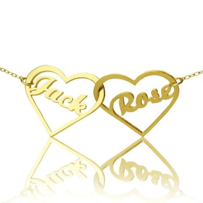 Double Heart Name Necklace 18ct Gold Plated - Handcrafted & Custom-Made