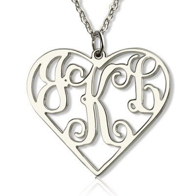 Sterling Silver Cut Out Heart Monogram Necklace - Handcrafted & Custom-Made