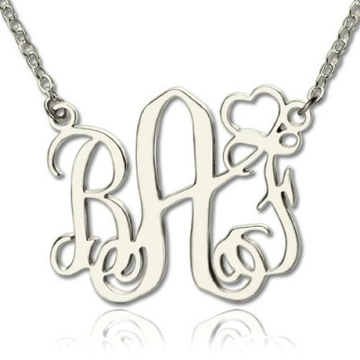 Personalised Initial Monogram Necklace With Heart Srerling Silver - Handcrafted & Custom-Made