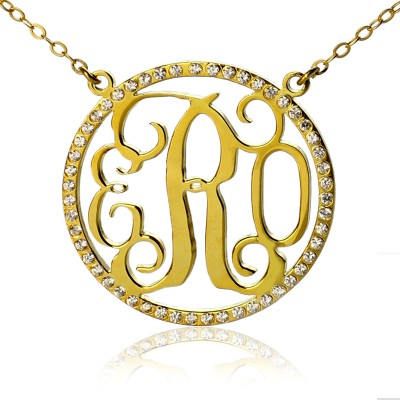 18ct Gold Plated Circle Birthstone Monogram Necklace  - Handcrafted & Custom-Made