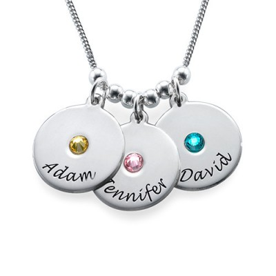 Mother's Disc and Birthstone Necklace  - Handcrafted & Custom-Made