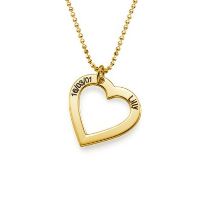 18k Gold Plated 0.925 Silver Engraved Necklace - Heart - Handcrafted & Custom-Made