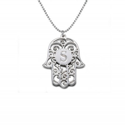 Silver Personalised Initial Hamsa Necklace - Handcrafted & Custom-Made
