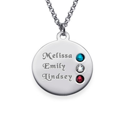 Silver Birthstone Necklace for Mum Inscriptions (1-3)  - Handcrafted & Custom-Made