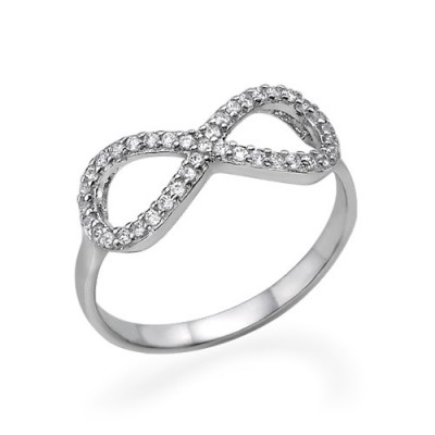 Silver Cubic Zirconia Encrusted Infinity Ring - Handcrafted & Custom-Made