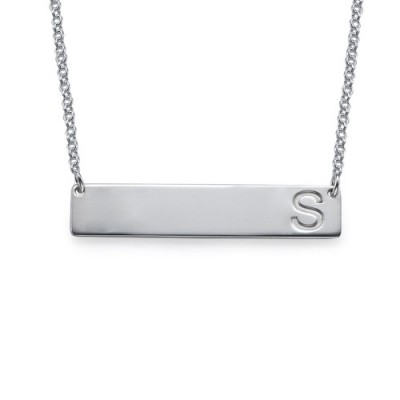 Silver Horizontal Initial Bar Necklace - Handcrafted & Custom-Made