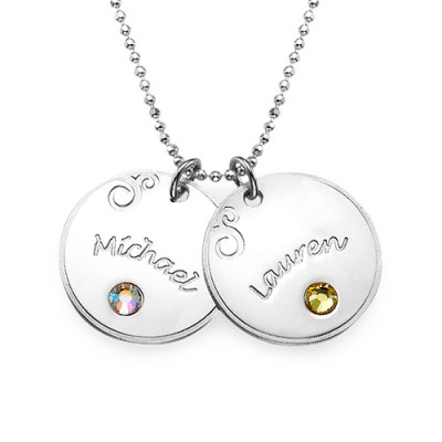 Sterling Silver Engraved Necklace with Birthstone  - Handcrafted & Custom-Made