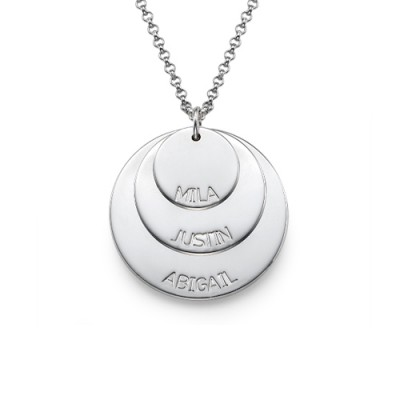 Sterling Silver Mummy Necklace with Kid's Names - Handcrafted & Custom-Made