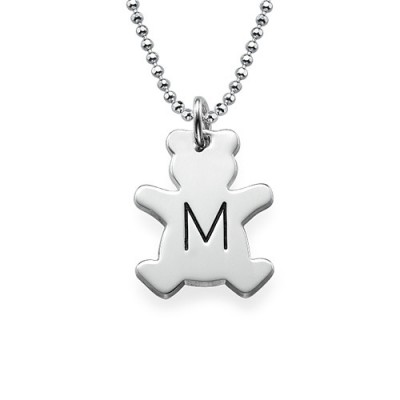 Teddy Bear Necklace with Initial in Silver - Handcrafted & Custom-Made