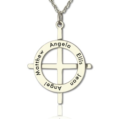 Silver Latin Style Circle Cross Necklace with Any Names - Handcrafted & Custom-Made