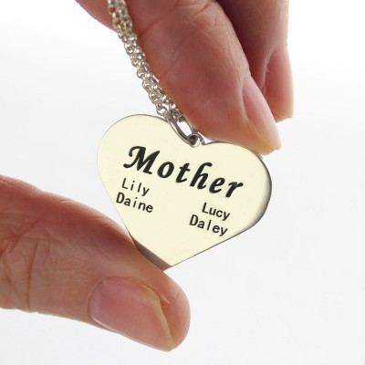 """""""Mother"""" Family Heart Necklace Sterling Silver - Handcrafted & Custom-Made"""