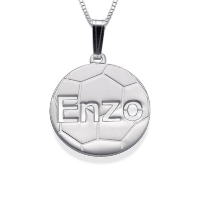 Sterling Silver Personlised Football Pendant - Handcrafted & Custom-Made