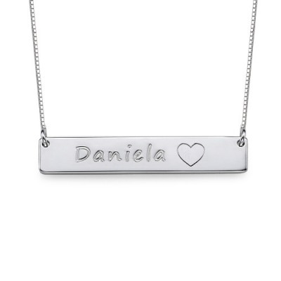 Silver Bar Necklace with Icons - Handcrafted & Custom-Made