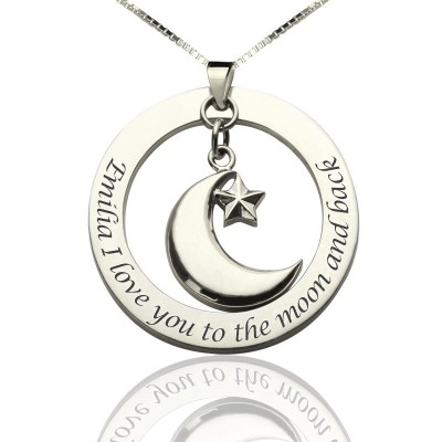 I Love You To The Moon and Back Moon  Start Charm Pendant - Handcrafted & Custom-Made