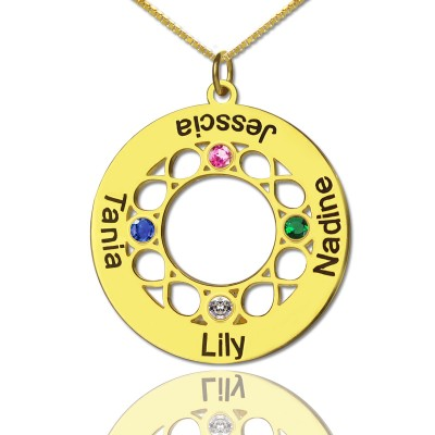 Infinity Birthstone Family Names Necklace In 18ct Gold Plated  - Handcrafted & Custom-Made