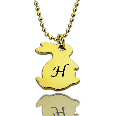 Tiny Rabbit Initial Charm Necklace 18ct Gold Plated - Handcrafted & Custom-Made