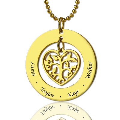 Circle Family Tree Pendant Necklace In 18ct Gold Plated - Handcrafted & Custom-Made