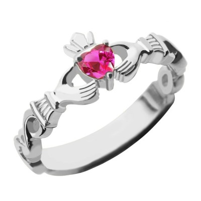 Ladies Claddagh Rings With Birthstone  Name White Gold Plated Silver  - Handcrafted & Custom-Made