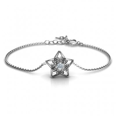 Personalised 3D Star Bracelet with Filigree Detailing - Handcrafted & Custom-Made