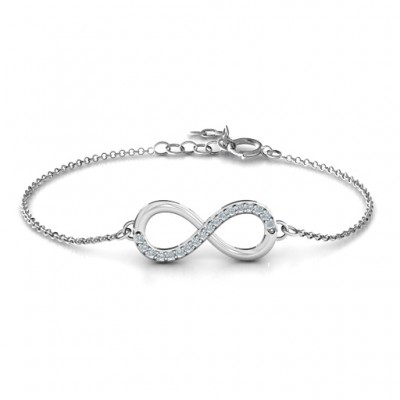 Personalised Infinity Bracelet with Single Accent Row - Handcrafted & Custom-Made
