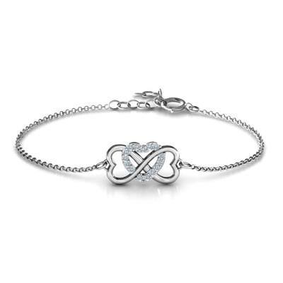 Personalised Triple Heart Infinity Bracelet - Handcrafted & Custom-Made