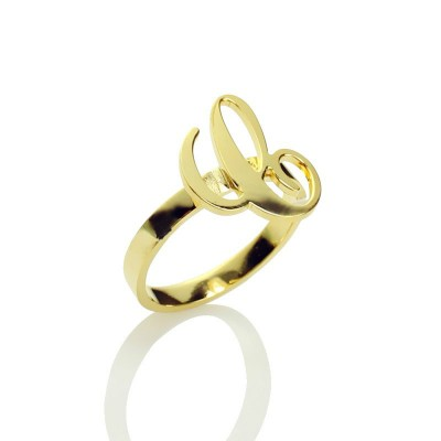 Personalised Carrie Initial Letter Ring 18ct Gold Plated - Handcrafted & Custom-Made
